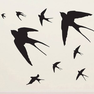 photo: http://www.contemporarywallstickers.co.uk/product/flying-swallows-vinyl-wall-sticker/